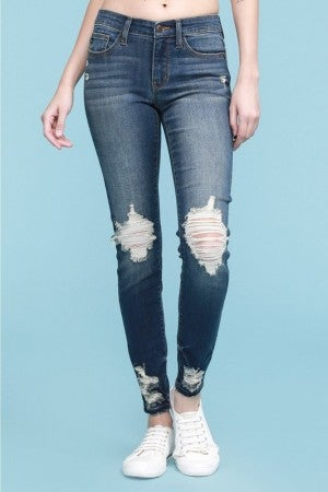 Judy Blue Destroyed Skinny Jeans with Hem Tacking
