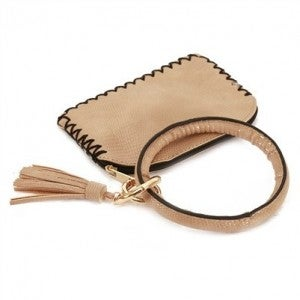 Vegan Leather Light Brown Key Ring with Wallet Attachment