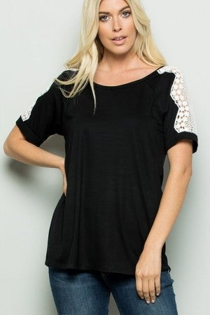 Short Sleeve Top with Lace Trim in Black