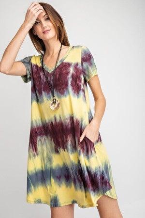 Short Sleeve V-Neck Tie Dye Print Swing Dress in Yellow