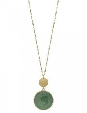 """Matte Gold with Mint Epoxy Circle 34"""" Necklace"""