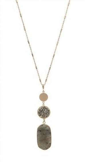 """Grey Natural Stone, Crystal, and Gold 34"""" Necklace"""