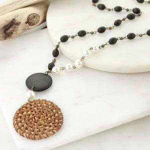 "34"" Dark Wood Bead Necklace w/ Wicker Pendant & Pearl Beads"