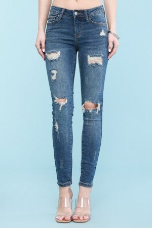 Judy Blue Dark Wash Destroyed Skinny Jeans