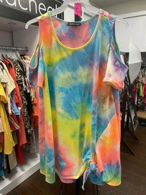 Pastel Cold Shoulder Tie Dye top with Side Knot