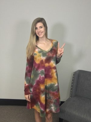 Waffle Knit Tie Dye Dress with Long Sleeves in Wine, Olive & Mustard