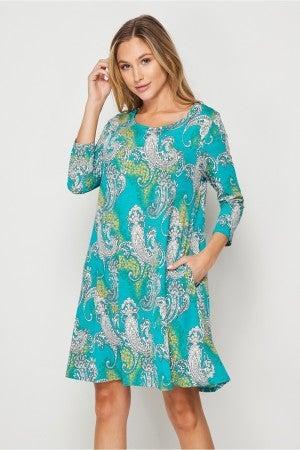 HoneyMe Jade Paisley Vine & Dine Dress