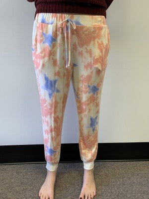 HoneyMe Stars Over My Tie Dye Joggers in Peach