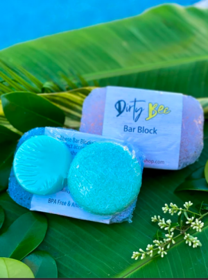 Dirty Bee Shampoo & Conditioner Bar Set with Bar Block | Waterslide