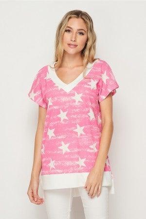 HoneyMe V-Neck Oversized Short Sleeved Pullover in Pink