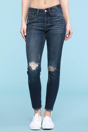 Judy Blue Dark Wash Destroyed Slim Cut Jeans