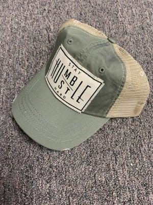 """Stay Humble Hustle Hard"" Distressed Trucker Cap"