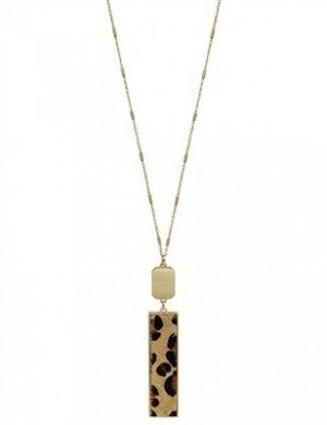 """Gold Rectangle and Cheetah Print 34"""" Necklace"""