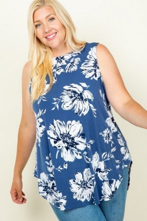 Floral Sleeveless Swing Tunic Top