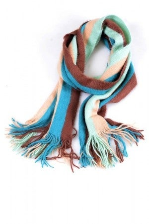Fringed Oblong Scarf in Fresh Stripes