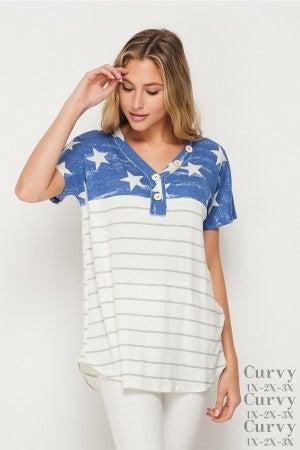 HoneyMe Blue Stars Striped Short Sleeve Henley Style Top