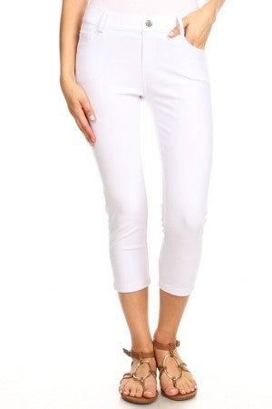 Women's Classic Solid Capri Jeggings in White