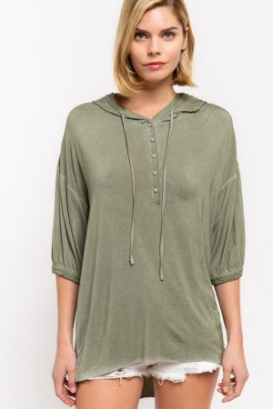 POL Hoodie with Button Closure Front