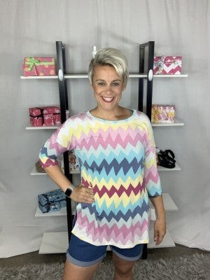 Sew In Love Chevron Multi Color Pattern Top