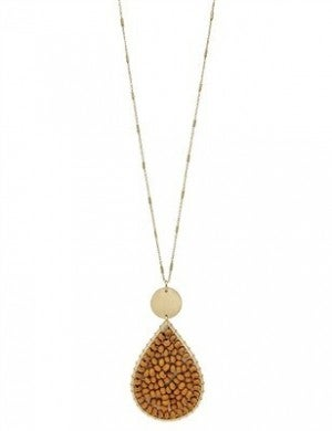 """Mustard Wood Wired Teardrop on Gold 34"""" Necklace"""