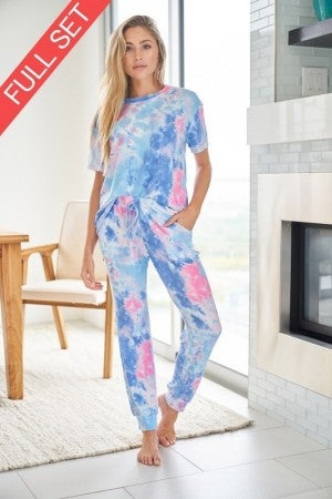 White Birch Tie Dye Knit Two Piece Set in Pink and Blue