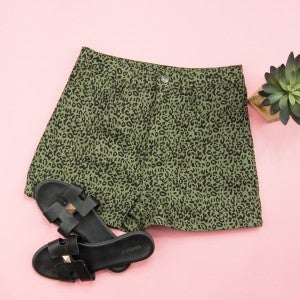 Olive Leopard Shorts
