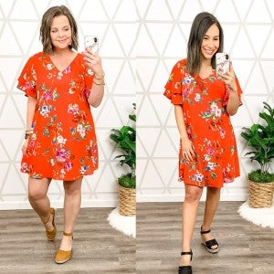 Red Spice Floral Dress *all sales final*