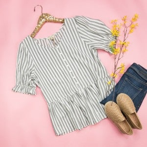 Kori Gray Striped Blouse