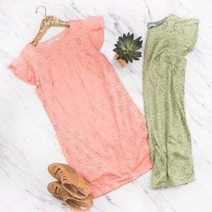 Crochet Detail Flutter Dress *all sales final*
