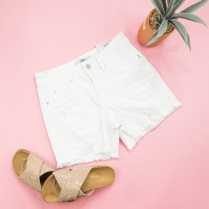 White YMI Distressed Shorts
