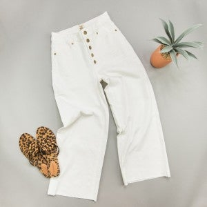 White Button Denim Pants