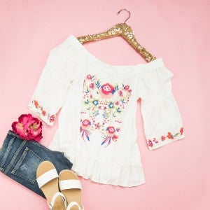 Sunset Embroidery Top