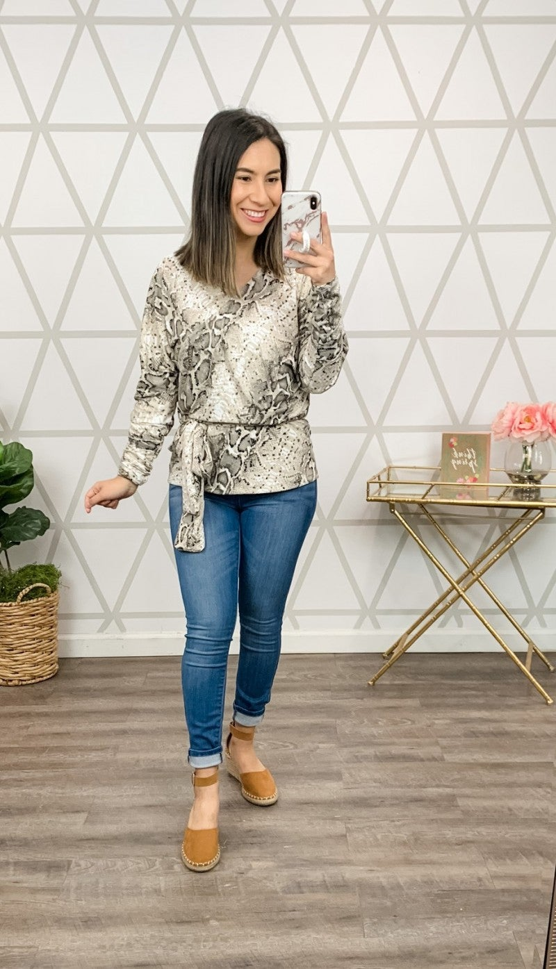 Buttersoft Cream Wrap Blouse *all sales final*