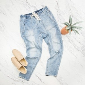 Easel Drawstring Denim Pants