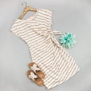 Flattering Stripe Tie Dress