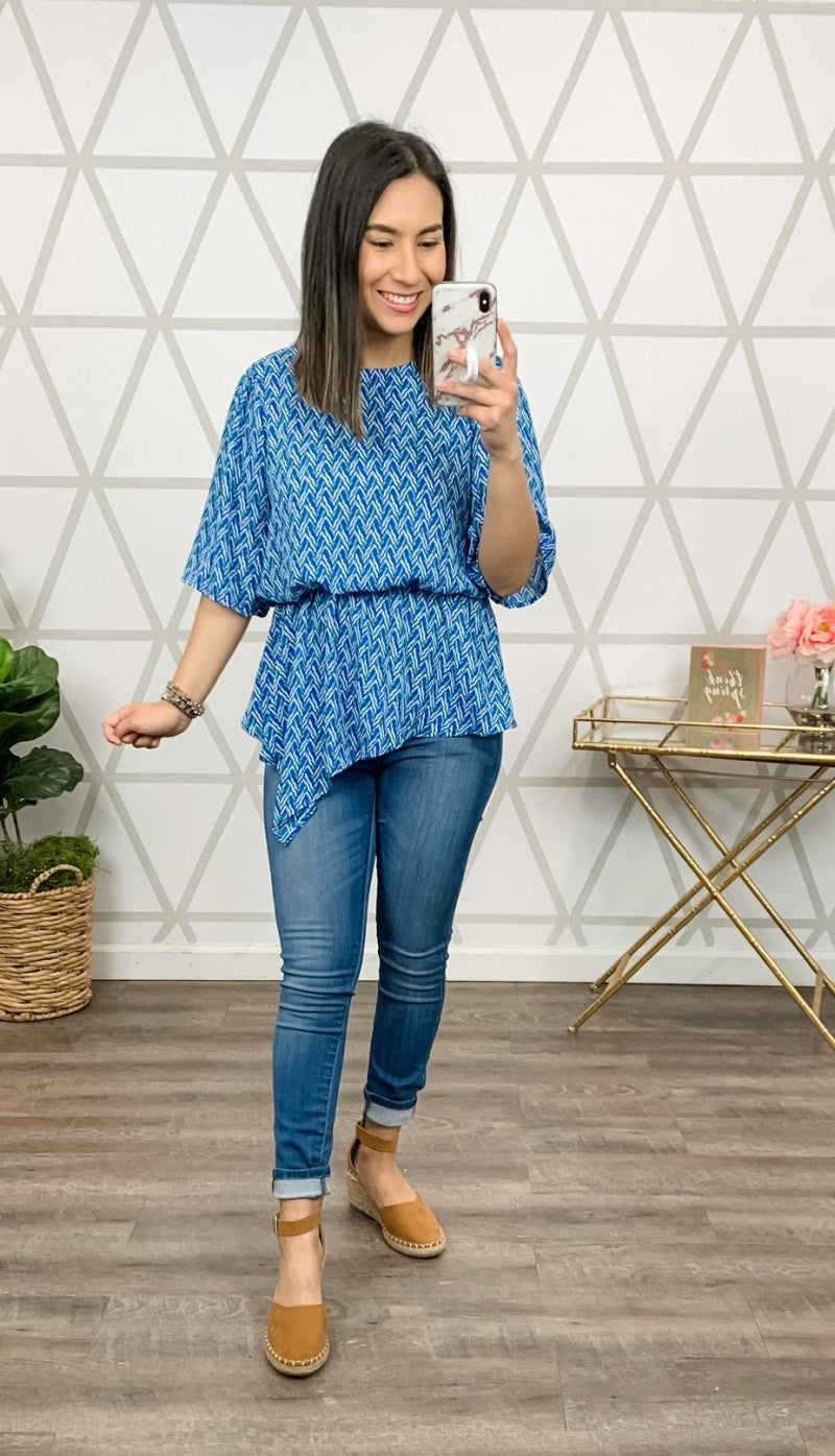 Cobalt Geometric Blouse *all sales final*