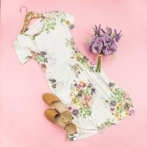 Floral Ivory Dress *ALL SALES FINAL*