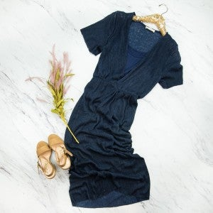 Elegant Twist Navy Dress