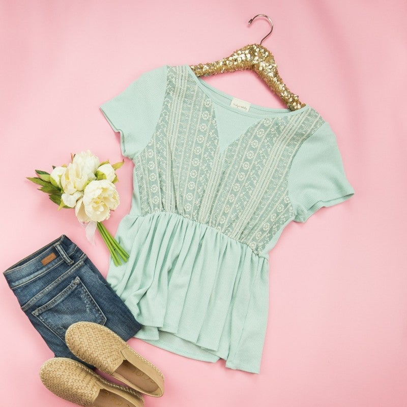 Mint Peplum Blouse