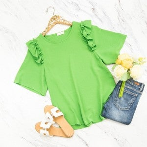 Green Ruffle Blouse