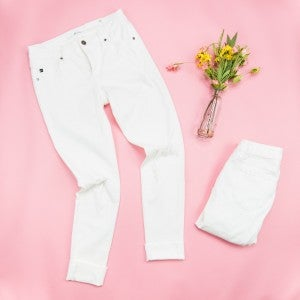 Kancan Distressed White Denim *all sales final*