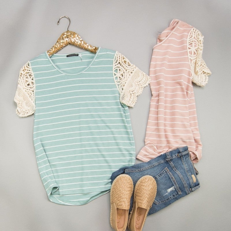 Staccato Striped Crochet Top *all sales final*