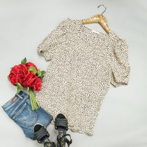 Spotty Dot Taupe Blouse