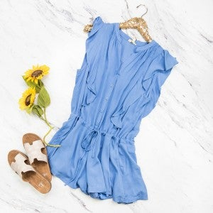 Blue Ruffle Romper *all sales final*