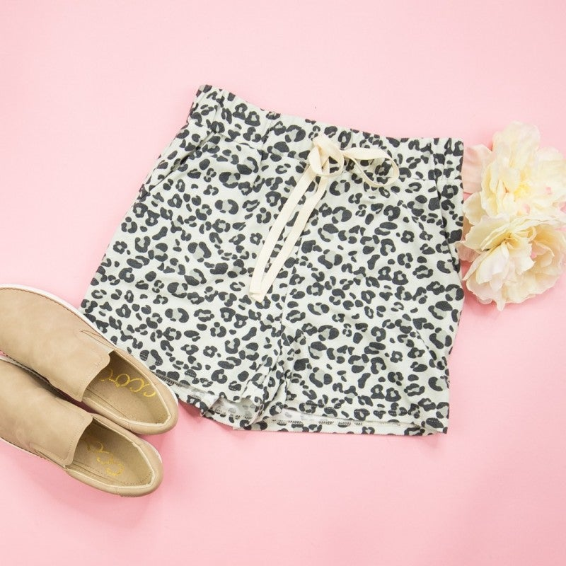 Gray Leopard Shorts