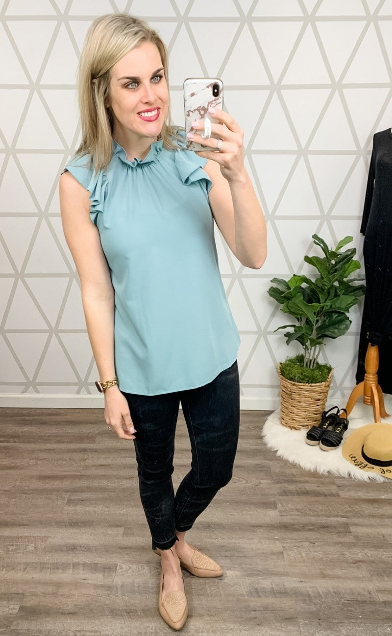 Dusty Mint Ruffle Blouse