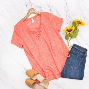 Coral Cross Top *ALL SALES FINAL*