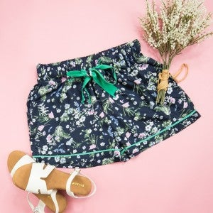 Satin Navy Floral Shorts