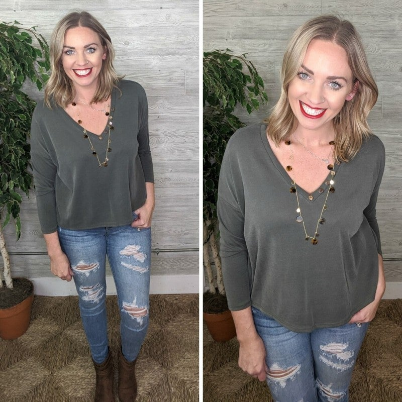 Riley Button Neck OLIVE