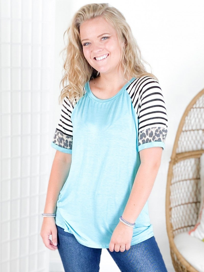 Knit Top with Stripe & Leopard Raglan Sleeves (Multiple Colors)